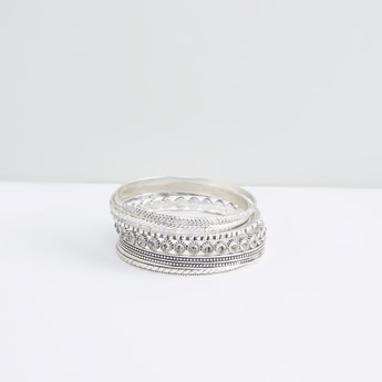 Textured Metallic Bangle - Set of 6