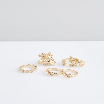 Metallic Finger Ring with Stud Detail - Set of 6