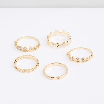 Assorted Metallic Finger Ring - Set of 5