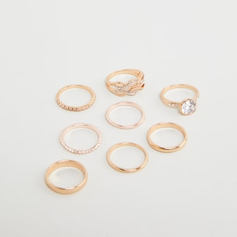 Set of 8 - Embellished Finger Rings