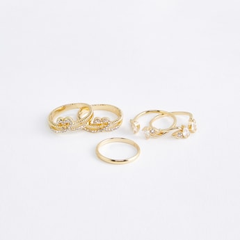 Assorted Studded Finger Rings - Set of 5