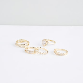 Studded Metallic Finger Rings - Set of 5