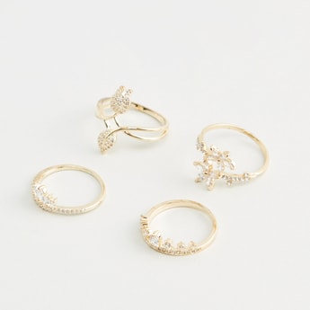 Set of 4 - Studded Finger Rings