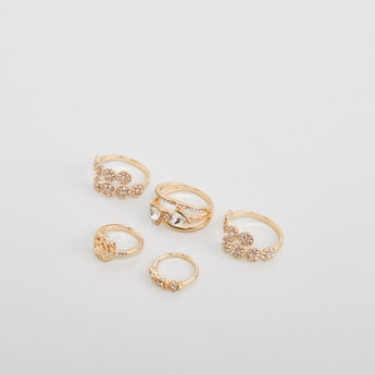Set of 5 - Studded Finger Rings