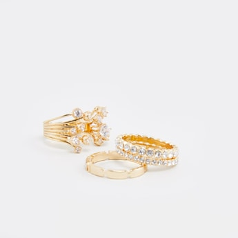 Set of 4 - Studded Metallic Finger Rings