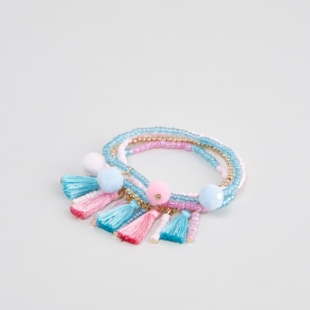Set of 4 - Beaded Bracelets with Tassels and Pom Pom Detail
