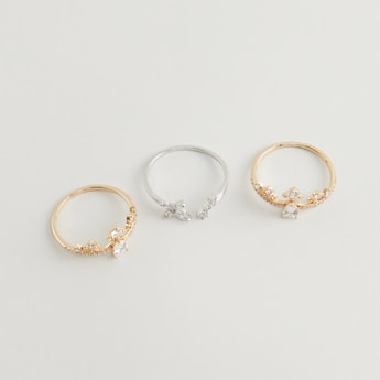 Set of 3 - Stud Detail Finger Ring