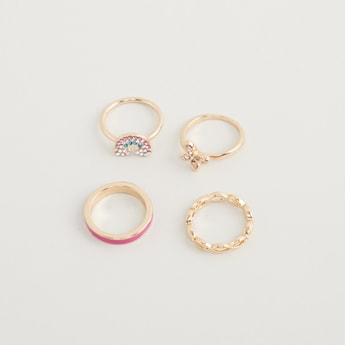Set of 4 - Embellished Finger Rings