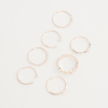 Set of 7 - Studded Finger Rings