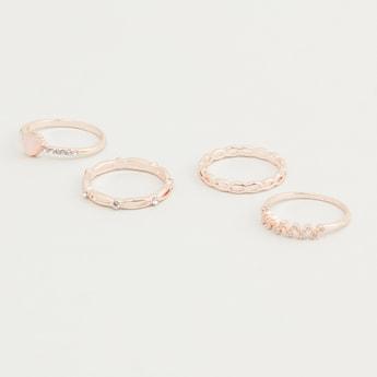 Set of 4 - Stud Detail Finger Rings