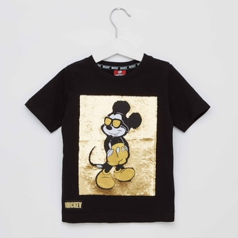 Mickey Mouse Print Sequin Embellished T-shirt with Short Sleeves