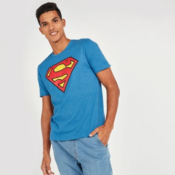Superman Print T-shirt with Round Neck and Short Sleeves