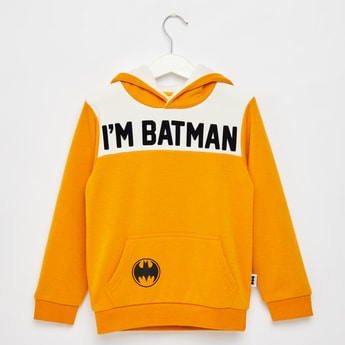 Batman Printed Hoodie with Long Sleeves and Kangaroo Pocket