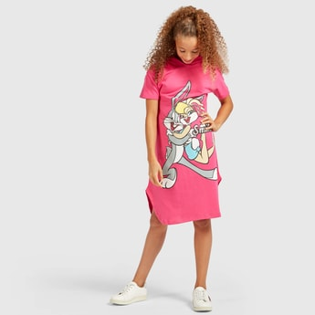 Bugs Bunny Print Sweat Dress with Hood and Short Sleeves