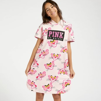 Pink Panther Print Sweat Dress with Hood and Short Sleeves