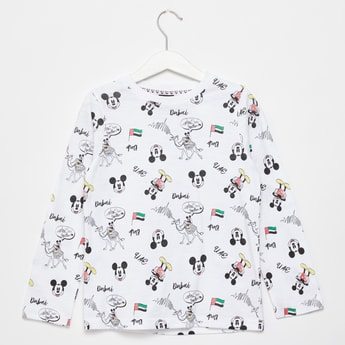 All-Over Mickey Mouse Graphic Print T-shirt with Long Sleeves