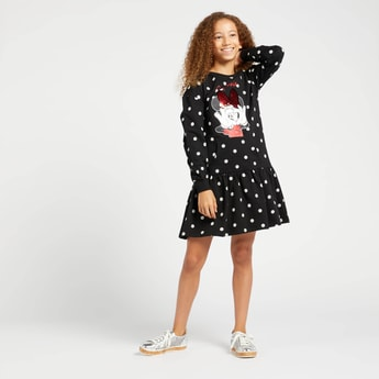 Minnie Mouse Print Dress with Sequins Detail and Long Sleeves