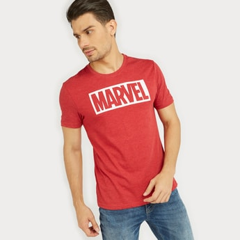 Marvel Typographic Print T-shirt with Round Neck and Short Sleeves