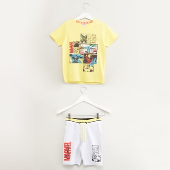 Marvel Printed T-shirt and Shorts Set