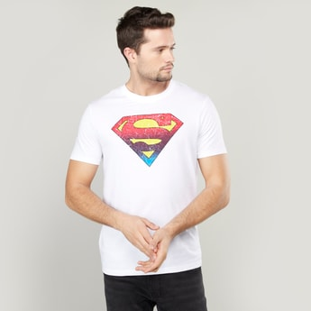 Superman Graphic Printed T-shirt with Short Sleeves