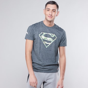 Superman Embossed Printed T-shirt with Round Neck and Short Sleeves