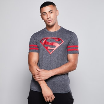 Superman Embossed T-shirt with Round Neck and Short Sleeves