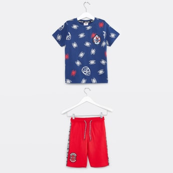 Spider-Man Printed Round Neck T-shirt and Shorts Set