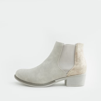 Textured Chelsea Boots with Gusset