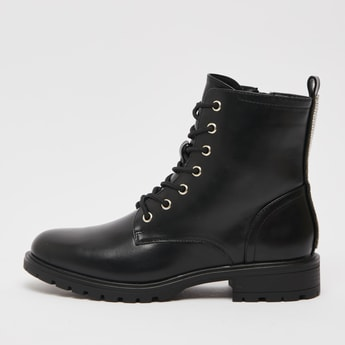 Solid Zipper Boots with Block Heels and Pull Tab