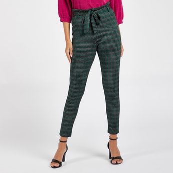 Checked Jacquard Ankle Length Pants with Paper Bag Waist and Belt