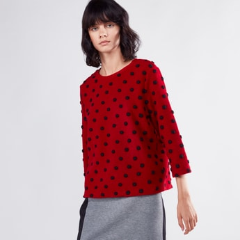 Textured Sweater with 3/4 Sleeves and Pom Pom Detail