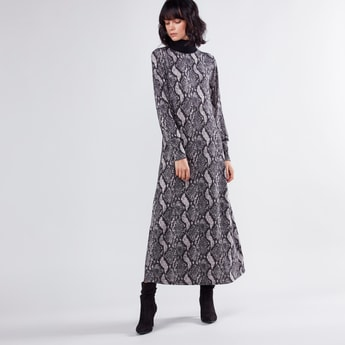 Printed Maxi A-line Dress with Turtleneck and Long Sleeves