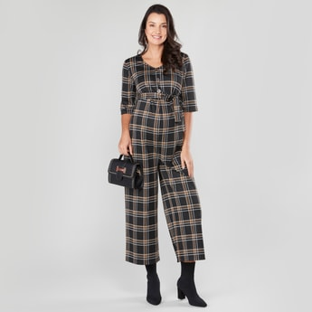 Chequered Maternity Jumpsuit with Button Closure and Tie Ups