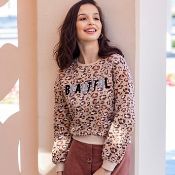 Animal Print Sweat Top with Round Neck and Long Sleeves