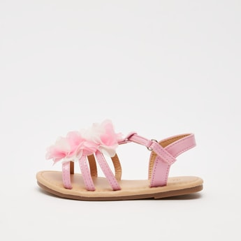 Sandals with Floral Appliques and Hook and Loop Closure