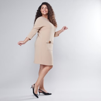 Plain Shift Dress with 3/4 Sleeves and Pocket Detail