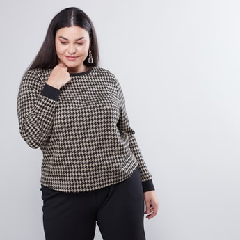 Houndstooth Print Sweatshirt with Long Sleeves