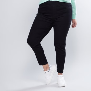 Denim Jeggings with Elasticised Waistband and Pocket Detail