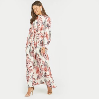 Floral Print Maxi A-line Dress with Bishop Sleeves and Tie Ups