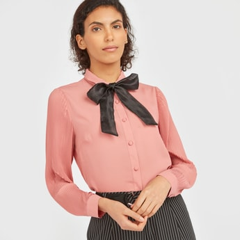 Solid Collared Shirt with Pleated Sleeves and Bow Accent