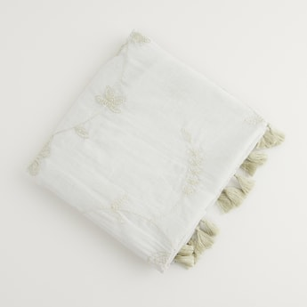 Embroidered Scarf with Tassels
