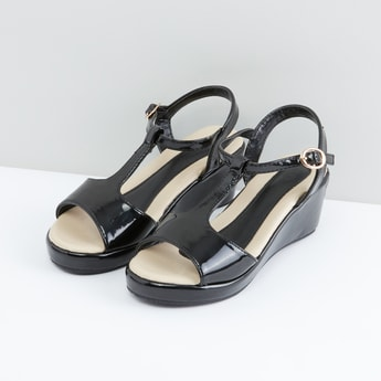 Glossy Wedges with Back Strap andPin Buckle Closure
