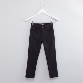Full Length Textured Jeans with Button Closure and Pocket Detail