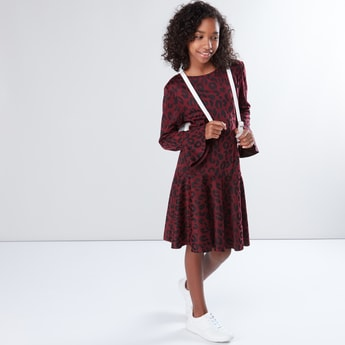 Printed Round Neck Flared Sleeves Dress