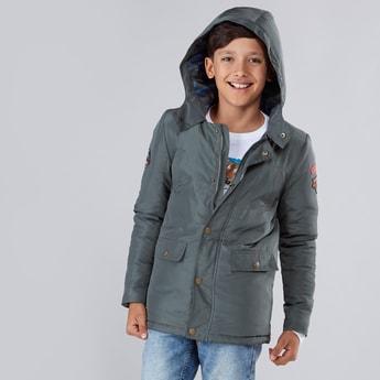 Applique Detail Long Sleeves Hooded Parka Jacket