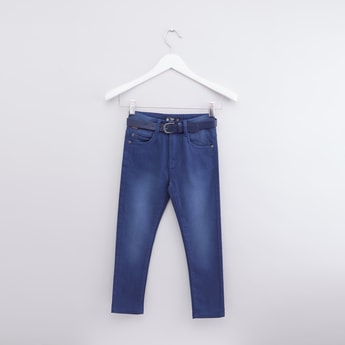 Full Length Pants with Belt and Pocket Detail
