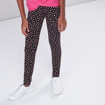 Polka Dots Printed Full Length Leggings with Elasticised Waistband
