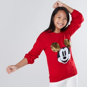 Mickey Mouse Reversible Sequin Drop Shoulder Sleeves Sweater