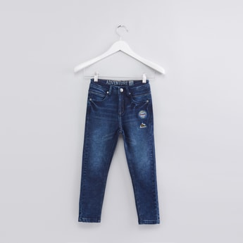 Full Length Jeans with Badge Detail and Button Closure