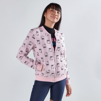 Hello Kitty Printed Bomber Jacket with Pocket Detail